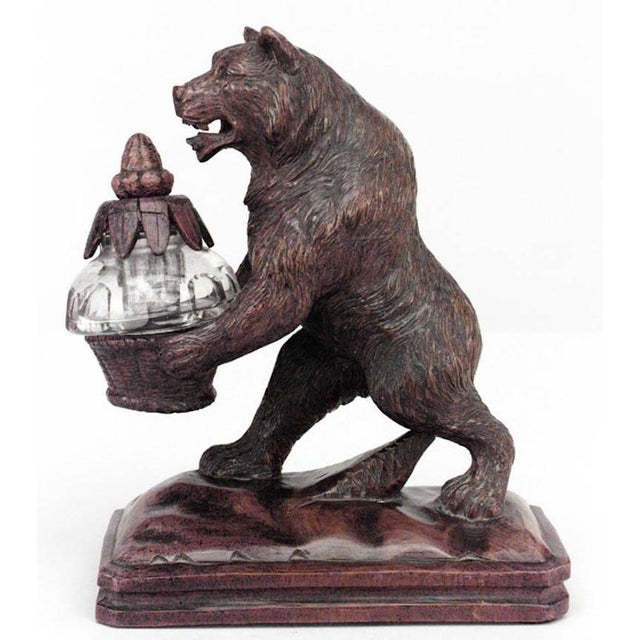 Rustic Black Forest '19th Century' Walnut Figure of Bear Holding Crystal Inkwell For Sale - Image 4 of 4