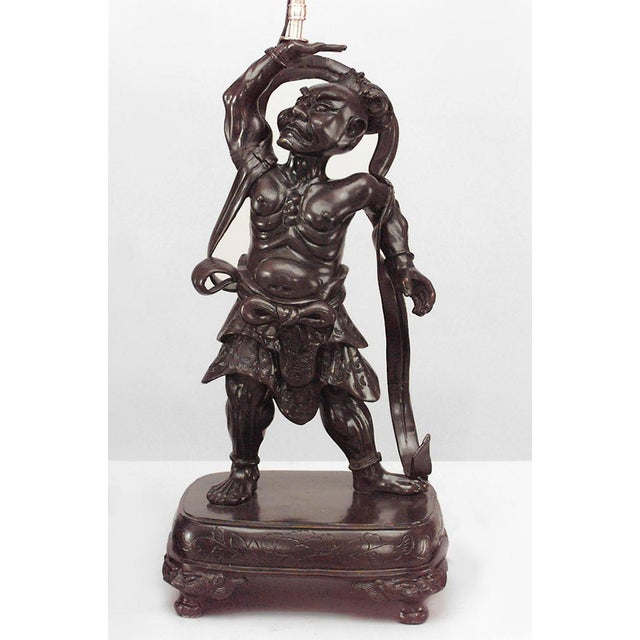 Asian Asian Japanese Bronze Stylized Samurai Figure Table Lamps- A Pair For Sale - Image 3 of 6