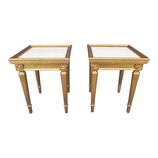 20th Century Hollywood Regency Marble Top Side Tables - a Pair For Sale