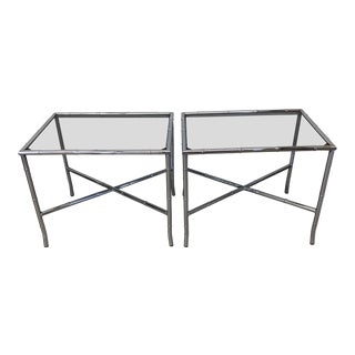 70s Faux Bamboo Chrome and Smoke Glass End Tables - a Pair For Sale