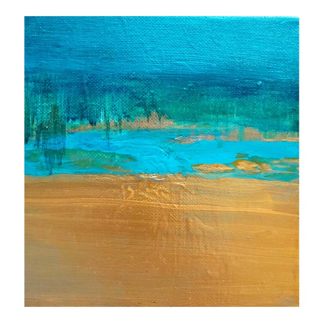 Abstract Art Original Turquoise Metallic Canvas Landscape Painting - Image 1 of 3