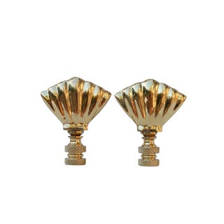 Art Deco Style Solid Brass Shell Finials - a Pair For Sale