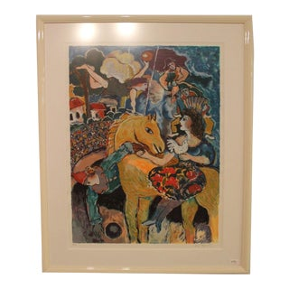 Contemporary Modern Framed Artist Proof by Zamy Steynovitz Signed Big Circus For Sale