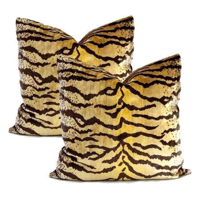Velvet Tigre Pillows - A Pair - Image 5 of 5