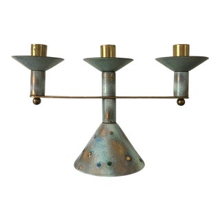 Brass Enameled Candelabra For Sale