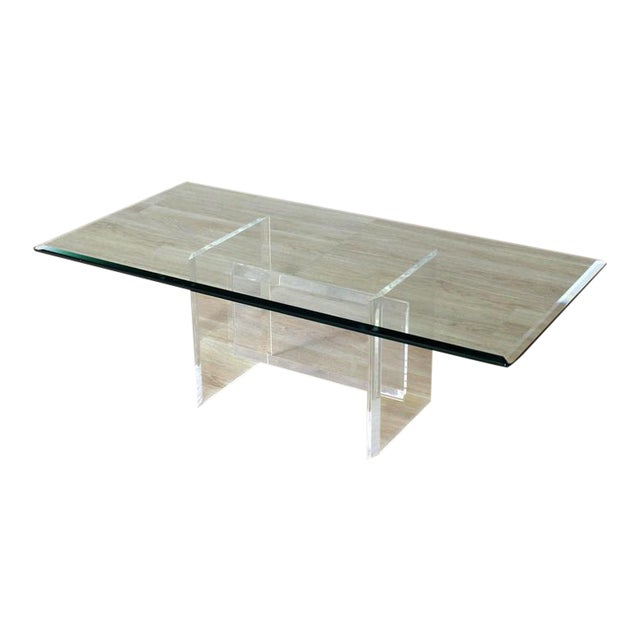 Lucite Base Glass Top Rectangular Coffee Table For Sale