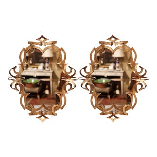 Vintage French Art Deco Gilt Painted Metal Wall Mirrors - a Pair For Sale