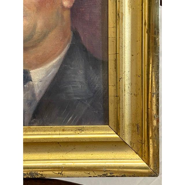 Canvas Vintage Signed Oil on Canvas Portrait of a Handsome Man Gilt Gold Frame 1942 Painting For Sale - Image 7 of 10