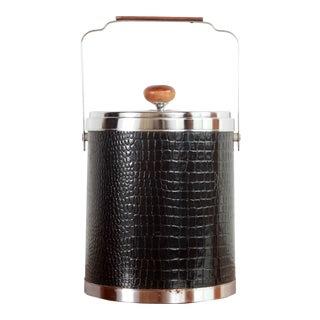 Vintage Mid-Century Modern Chrome & Black Alligator Vinyl Ice Bucket by Kromex For Sale