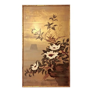 Vintage Lee Reynolds Chinoiserie Bamboo Framed Oil Painting - Birds and Flowers