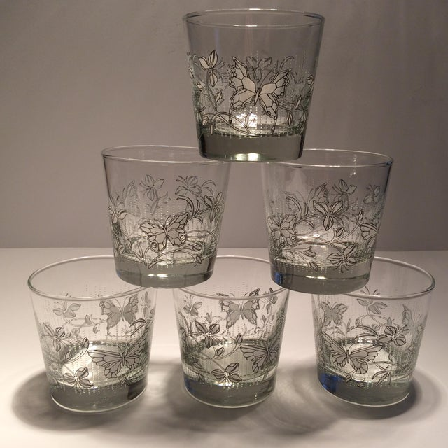 Vintage Butterfly Design Low Ball Glasses - Set of 6 - Image 10 of 11