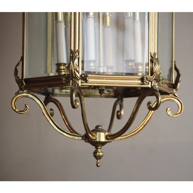 Traditional Late 20th Century Brass Hexagonal Lantern - Ceiling Light For Sale - Image 3 of 4
