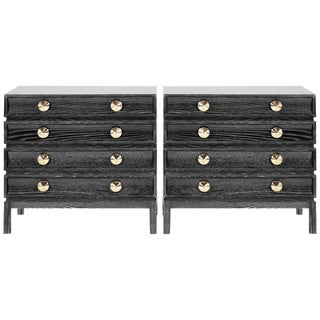 Black Ceruse Stacked Bedside Tables - a Pair For Sale