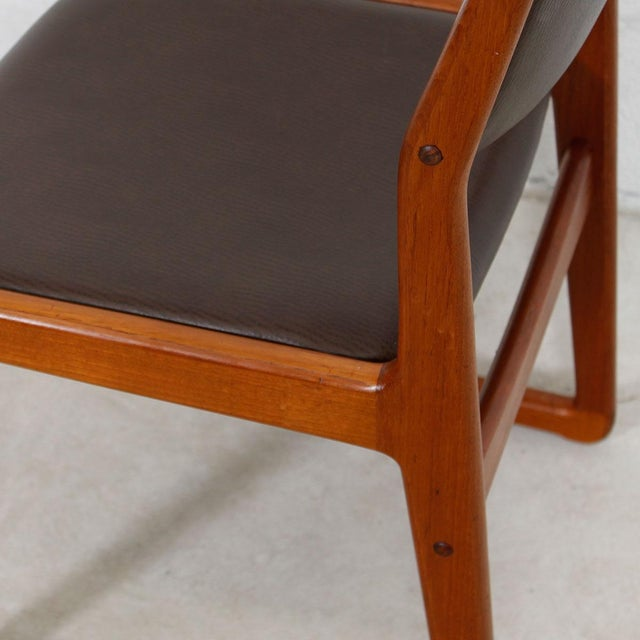 Set of 4 Danish Teak Sleigh Leg Chairs in Teak with New Upholstery For Sale In Washington DC - Image 6 of 6
