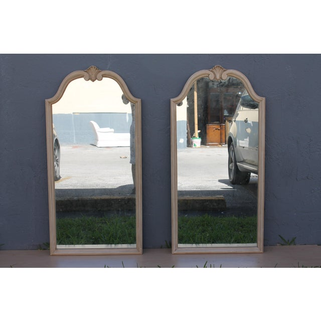 Traditional Off White Carved Wall Mirrors - A Pair - Image 2 of 9