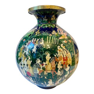 Vintage Lacquered Hand Painted & Brass Indian Vase For Sale