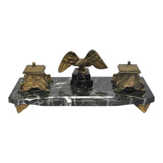 19th Century French Marble & Bronze Inkwell With Eagle For Sale