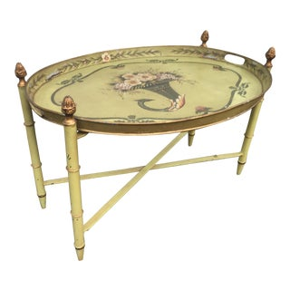 Faux Bamboo Tin Tray Folding Table For Sale