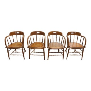 Vintage French Country Oak Nailhead Trim Captain Chairs - A Set of 4