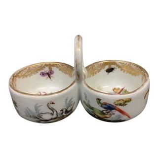 Vintage Meissen Porcelain Salt Cellars With Colorful Birds For Sale