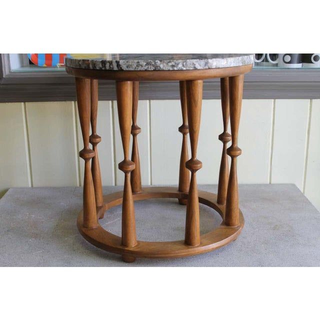 """A solid oak occasional table with modernist spindles and a 3/4"""" thick marble top. Wood has been professionally refinished..."""