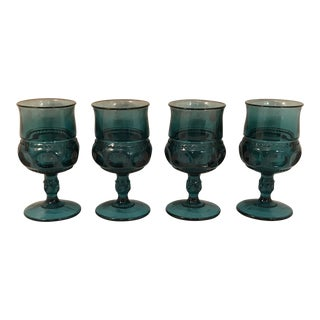 Vintage Indiana Glass Kings Crown Teal Smoke Blue Wine or Water Goblets - Set of 4 For Sale