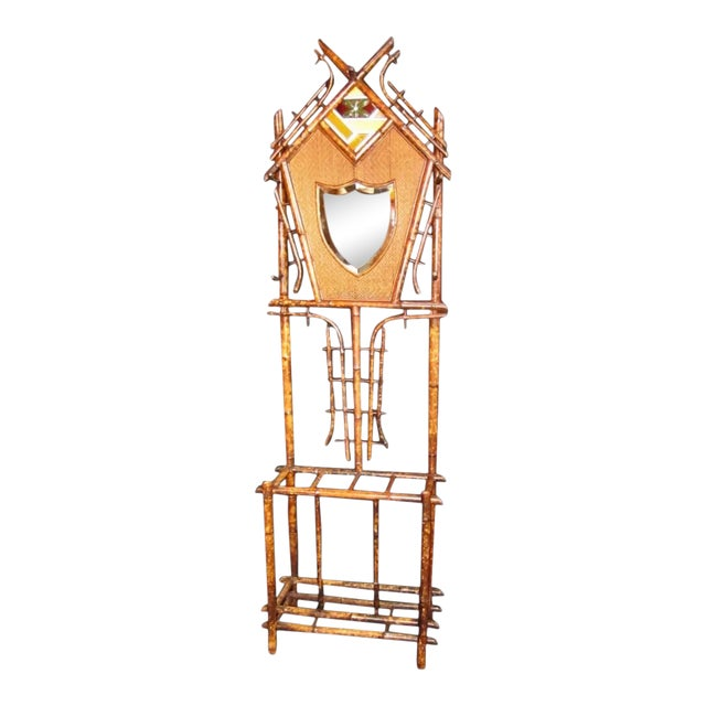 19th Century Art Nouveau Bamboo Woven Back Hall Tree With Beveled Shield Mirror and Nouveau Lamajolique - Societe Anonyme Tile For Sale