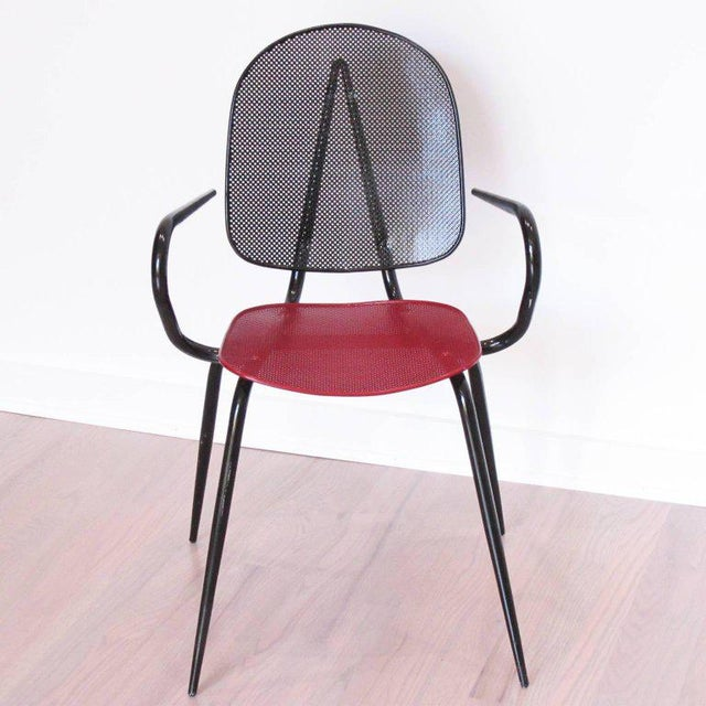 Lacquer Manner of Mathieu Mategot Black and Red Perforated Metal Armchairs For Sale - Image 7 of 11