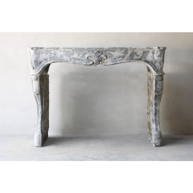Marble Antique Gray Marble Stone Fireplace, 19th Century, Louis XV For Sale - Image 7 of 7