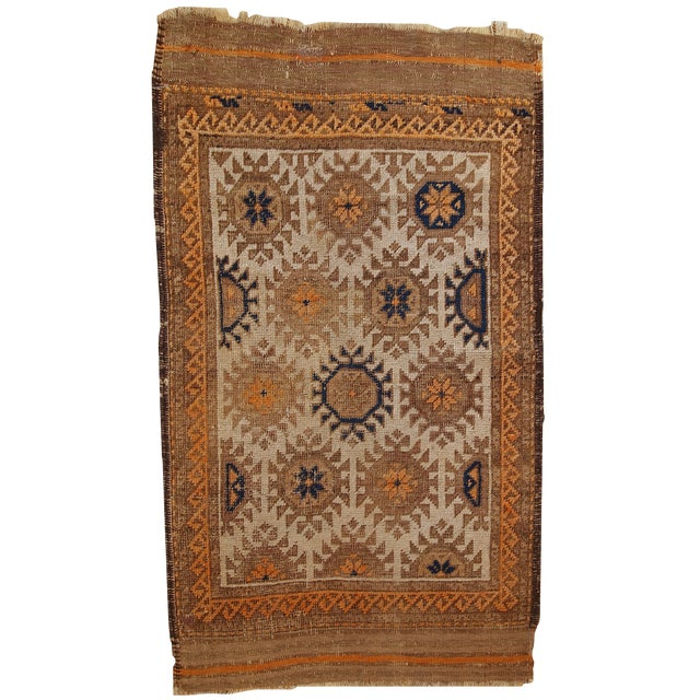 1890s Hand Made Antique Afghan Baluch Rug - 2′1″ × 3′9″ - Image 1 of 10