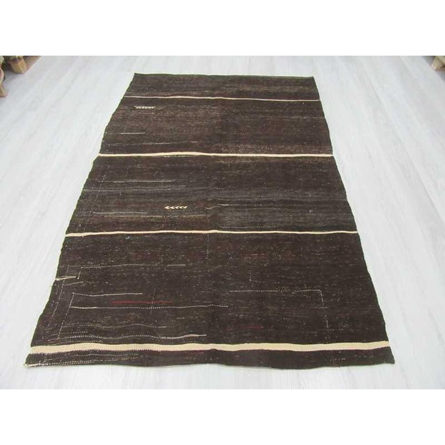 Vintage black and white kilim rug from Afyon region of Turkey.Approximatelly 50-60 years old. In very good condition
