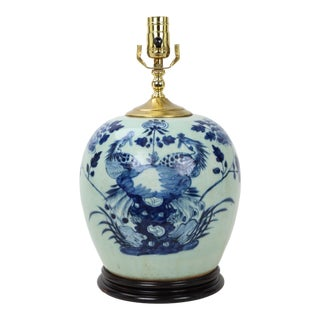 19 Century Celadon Blue & White Porcelain Ginger Jar Lamp With Floral and Phoenix For Sale