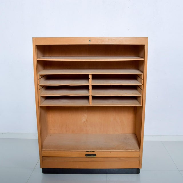 Bauhaus Filing Cabinet Locking Tambour Door by Adolf Maier Germany For Sale - Image 4 of 11