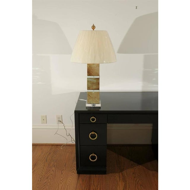 Turquoise Restored Pair of Modern Lamps in Jade and Crystal For Sale - Image 8 of 10