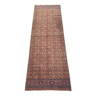 Mid 20th Century Vintage Salmon & Navy Persian Runner-3′3″ × 9′4″ For Sale