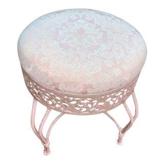 1970s Vintage Pink Damask Pearlescent Vanity Stool For Sale