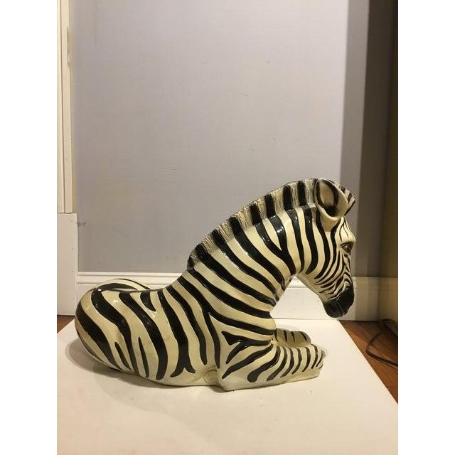 1960s Large Italian Ceramic Zebra For Sale - Image 5 of 9