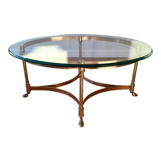 Labarge Polished Brass and Glass Cocktail Table For Sale