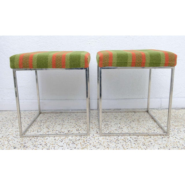 1970s Milo Baughman Mid-Century Polished Chrome Thin Line Stools - A Pair For Sale - Image 5 of 9