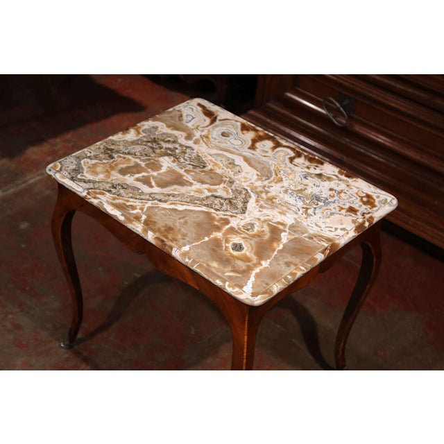 French 18th Century French Louis XV Mahogany Occasional Table With Marble Top For Sale - Image 3 of 9
