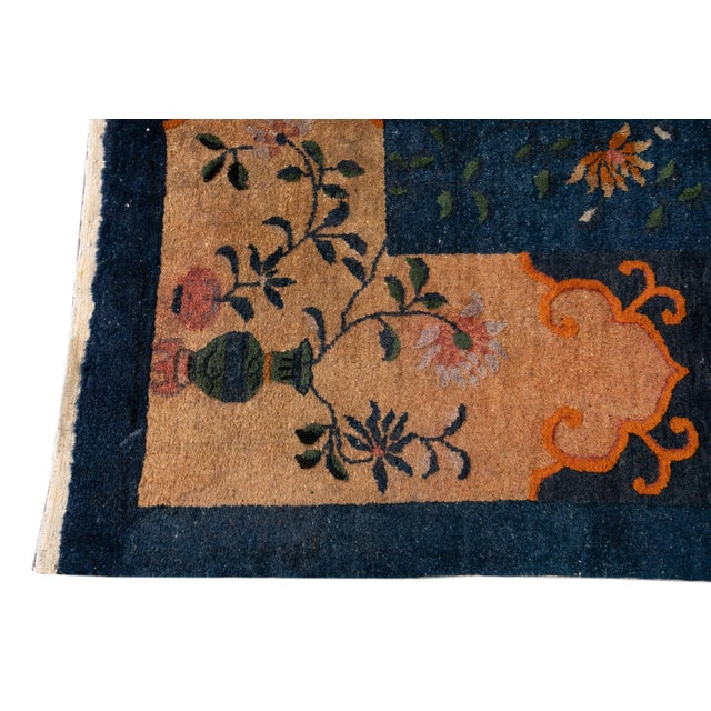 Early 20th Century Antique Art Deco Chinese Square Wool Rug 13 X 12 For Sale In New York - Image 6 of 13