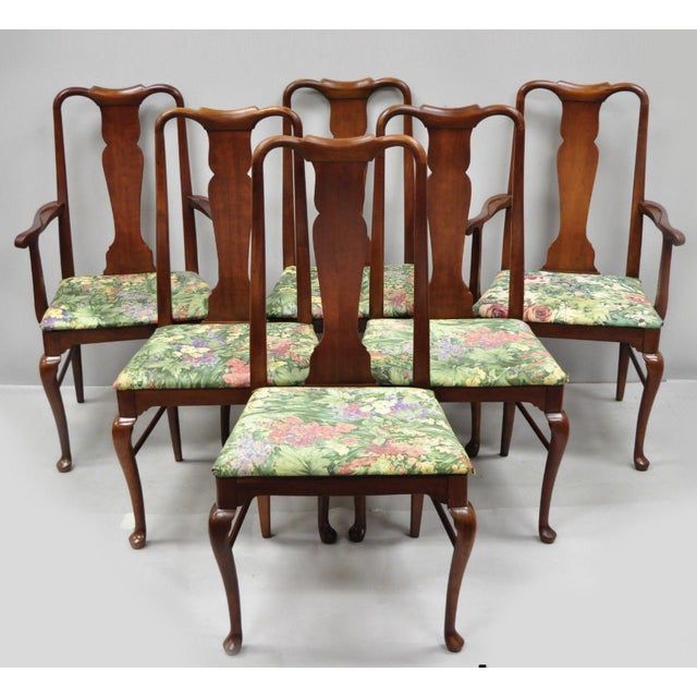 1960s Vintage Thomasville Queen Anne Style Solid Cherry Wood Dining Chairs- Set of 6 For Sale - Image 13 of 13