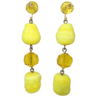 Vogue Jewelry Yellow and Amber Glass Dangle Earrings, Circa 1960 For Sale