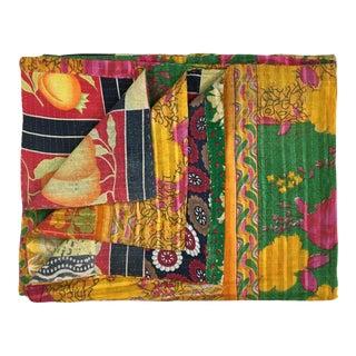 Floral and Fruit Vintage Kantha Quilt