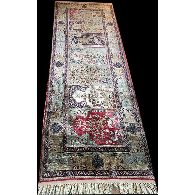 Early 20th Century Antique Silk Turkish Saph Runner Rug - 2′7″ × 8′ For Sale - Image 9 of 9