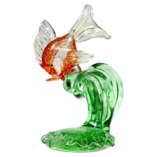 Mid Century Cenedese Murano Orange Silver Gold Leaf Italian Art Glass Fish Sculpture For Sale