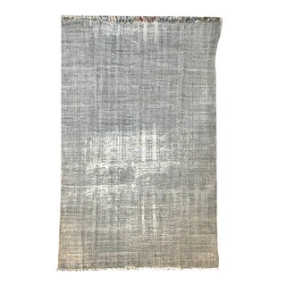 Grey Distressed Cotton 'Dhurrie' Flat Woven Style Rug - 4′6″ × 8′ For Sale
