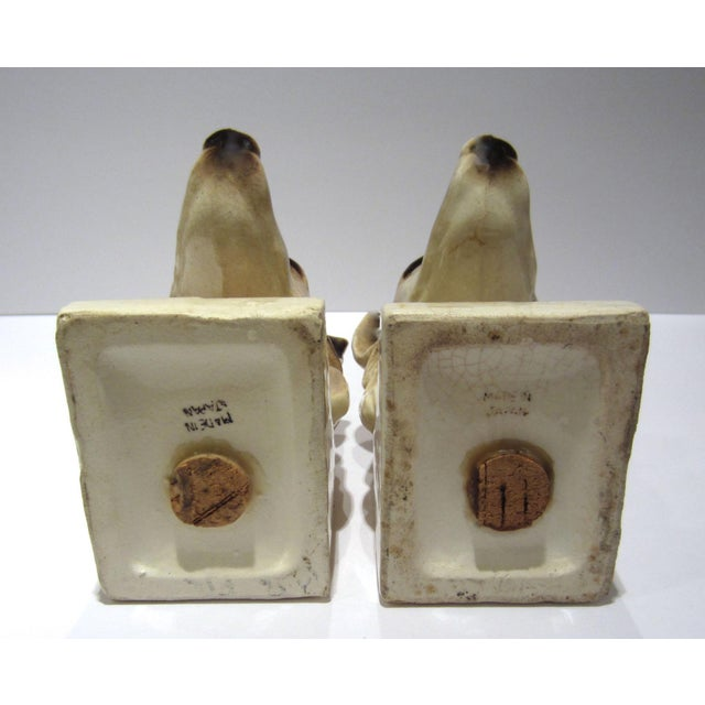 1950s Vintage Ceramic Dog Bookends - A Pair For Sale - Image 11 of 13