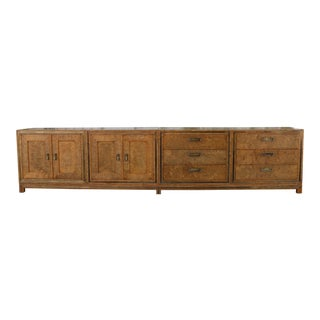 Mastercraft Burlwood 4 Piece Long Credenza For Sale