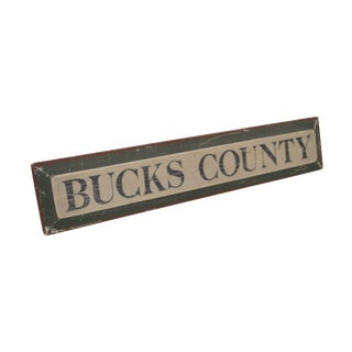 Bucks County Hand Painted Wood Sign For Sale